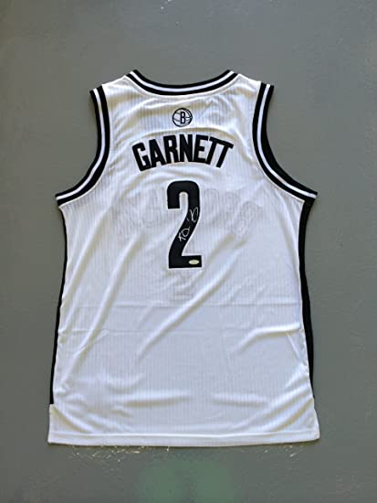 brand new f9f61 e53bc Kevin Garnett Signed Brooklyn Nets White Jersey STEINER at ...