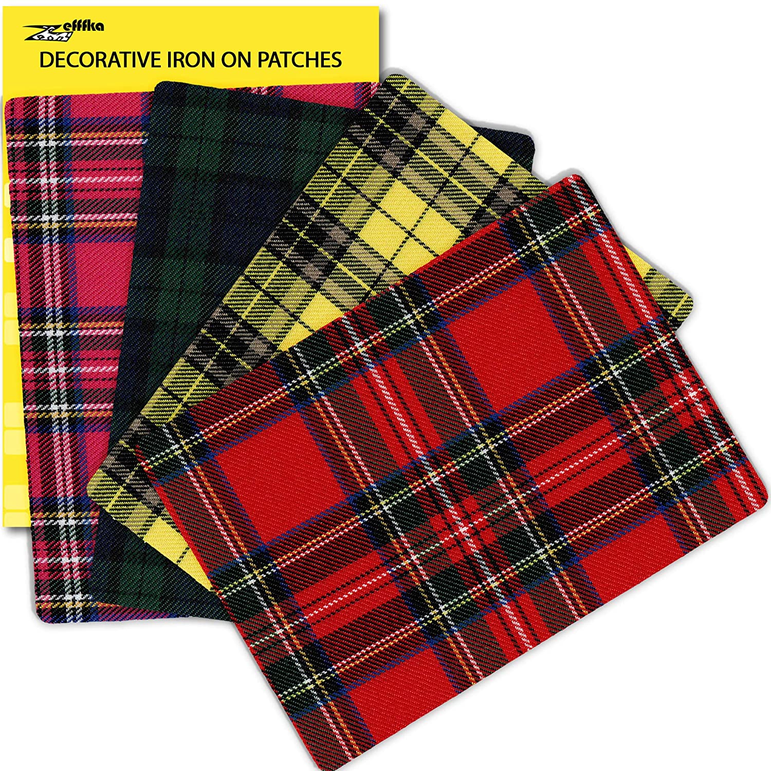 ZEFFFKA Premium Quality Plaid Fabric Textile Decorative Iron on Patches Modern Cool Design 4 Pieces 100/% Cotton Repair Kit for Jeans or Other Garment 5 by 7