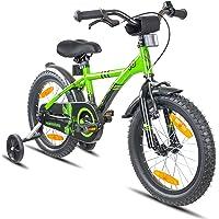 Prometheus vélo Enfant 16 Pouces pour garçons et Fille en Vert et Noir à partir de 5 Ans avec stabilisateurs et rétropédalage - BMX 16 Pouces modèle 2019