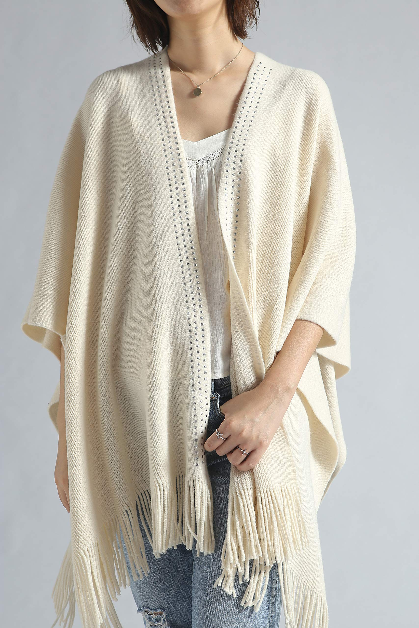 Women Poncho Shawl Cardigan Open Front Elegant Cape Wrap by Moss Rose (Image #3)