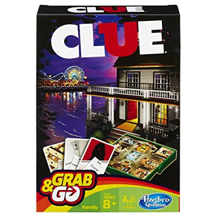 Amazon Hasbro Clue Grab And Go Game Travel Size Toys Games