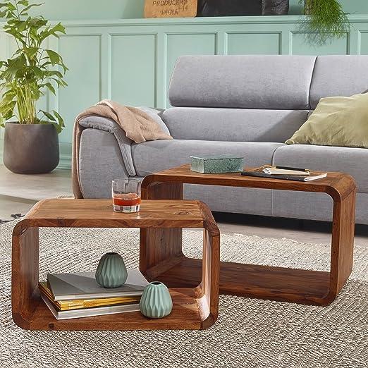 Finebuy 2er Set Satztisch Massiv Holz Sheesham Wohnzimmer Tisch