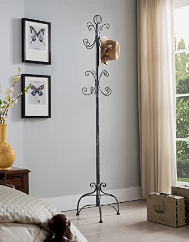 Kings Brand Brushed Silver Metal Hall Tree Coat Jacket Purse Scarf Hat Rack Stand