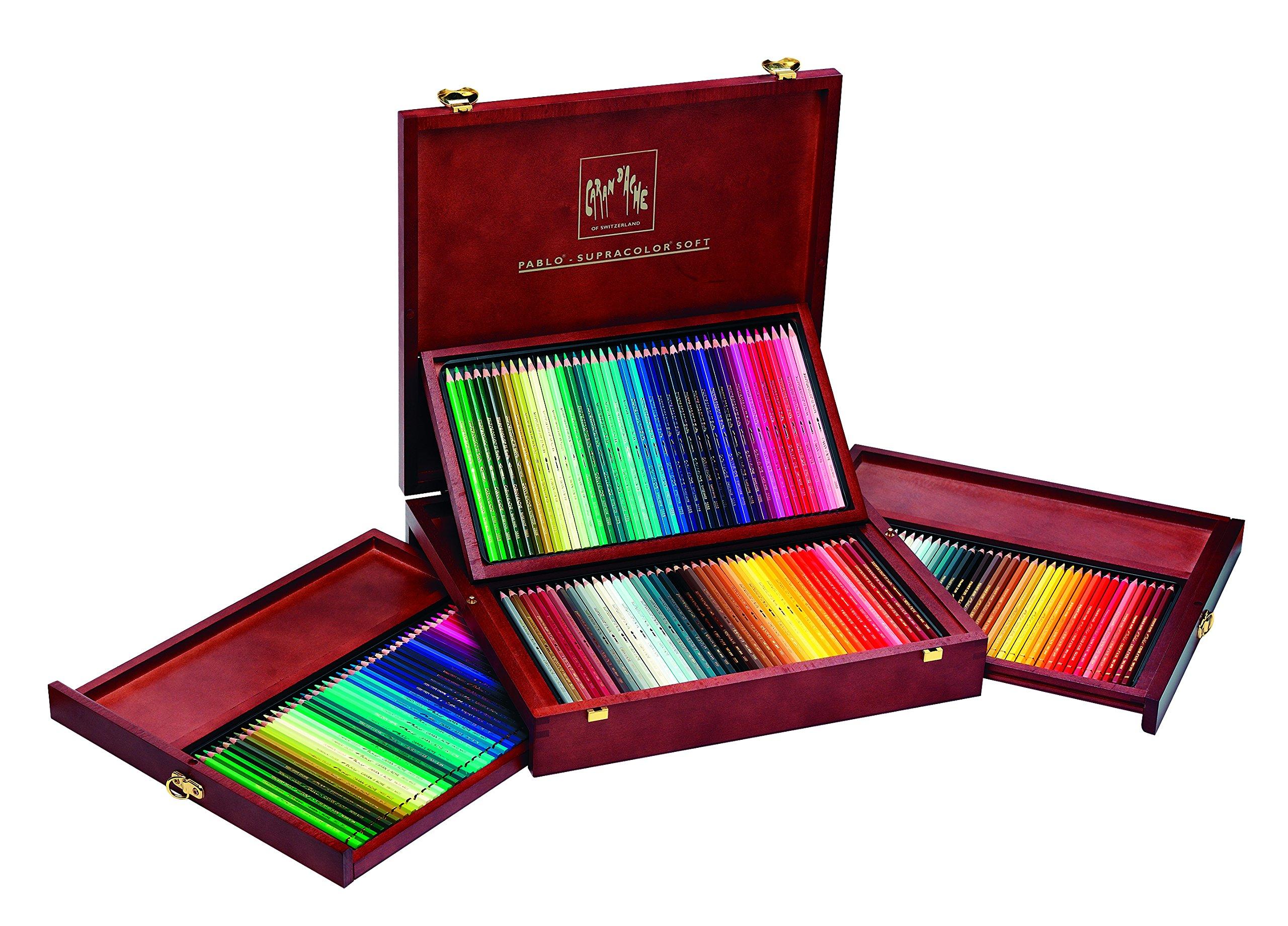 CARAN DACHE Supracolor + Caja de madera Pablo 160 Lápices (3