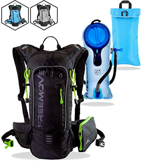 8c526ec88c31 FREEMOVE Hydration Pack Backpack with 2 Liter Water Bladder and Cooler Bag