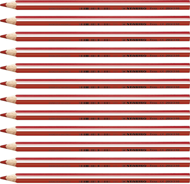 Dreikant-Buntstift rot 12er Pack STABILO Trio dick