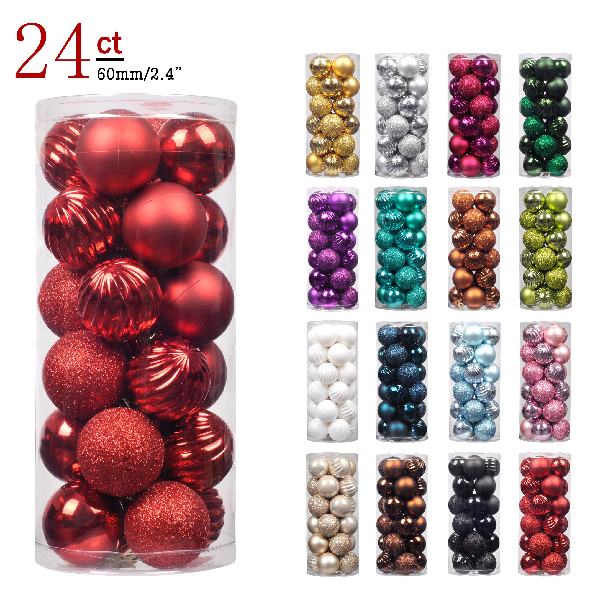 "KI Store 24ct Christmas Ball Ornaments Shatterproof Christmas Decorations Tree Balls for Holiday Wedding Party Decoration, Tree Ornaments Hooks included 2.36"" (60mm Red)"