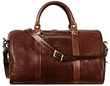 f4125405f9 Image Unavailable. Image not available for. Color  Brown Full Grain Leather Small  Duffel Bag