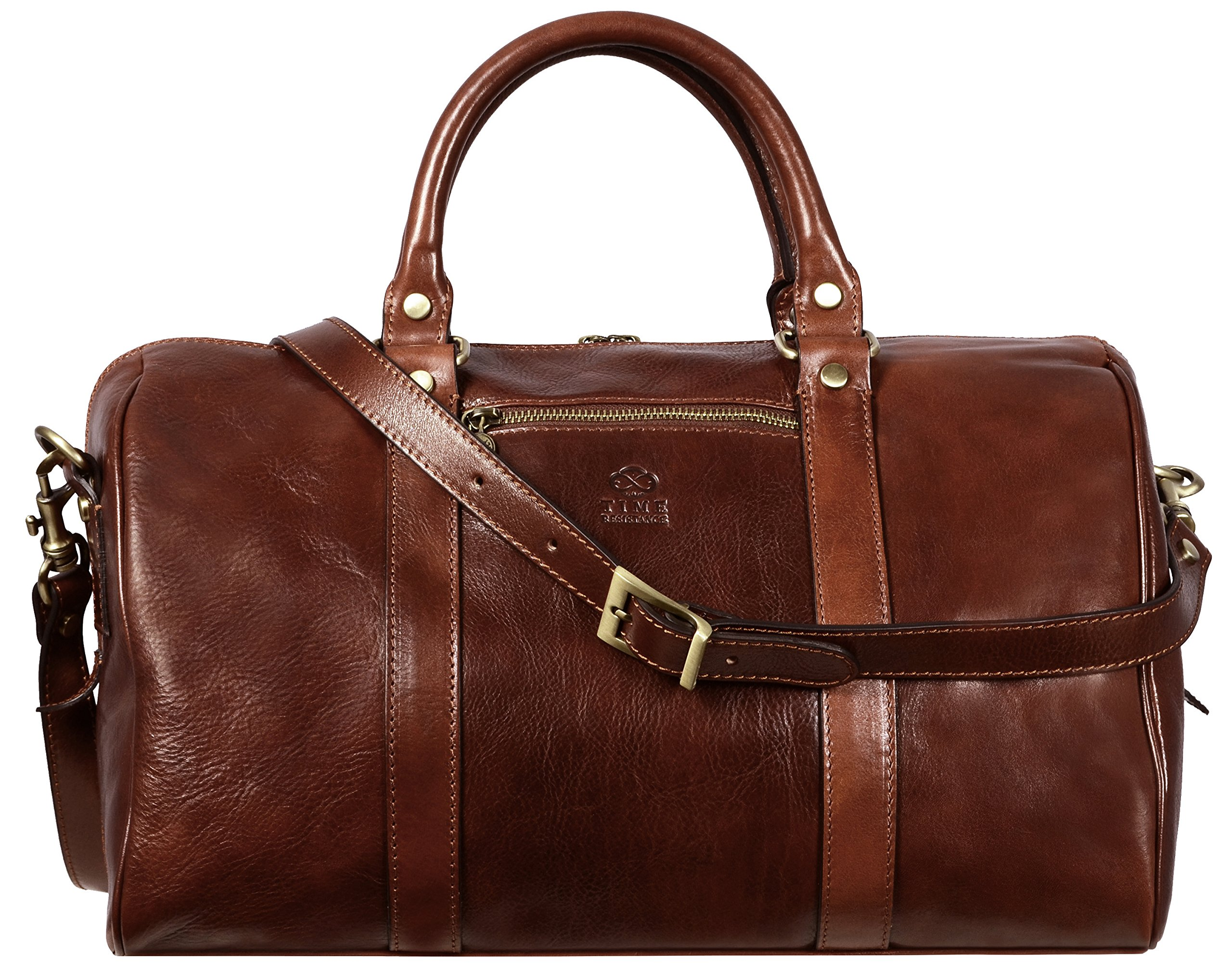 Brown Full Grain Leather Small Duffel Bag, Gym Bag, Weekend Bag Overnight Unisex - Time Resistance