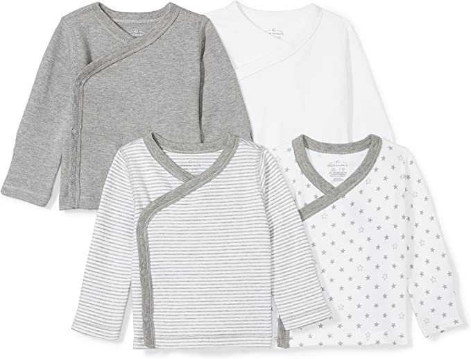 Preemie Moon and Back Baby Set Of 4 Organic Long-Sleeve Side-Snap Bodysuits Solid Grey Heather