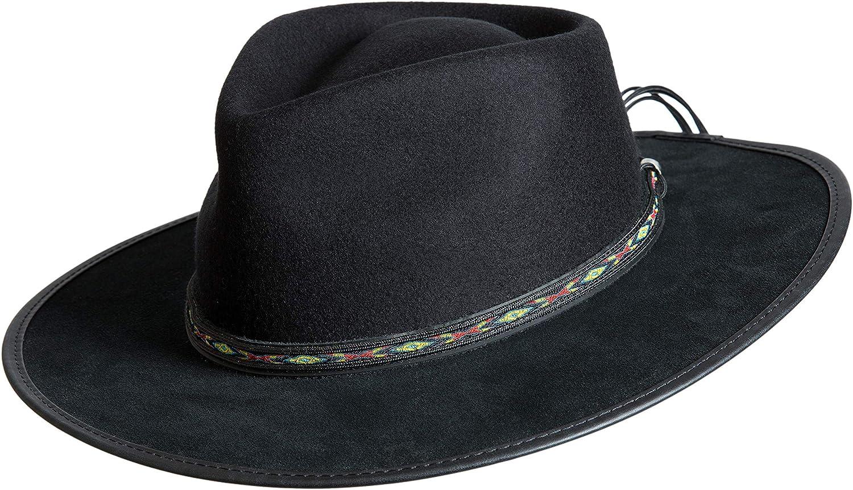 991637001f7 Overland Sheepskin Co Bushwick Wool Felt Western Fedora Hat at Amazon  Women s Clothing store