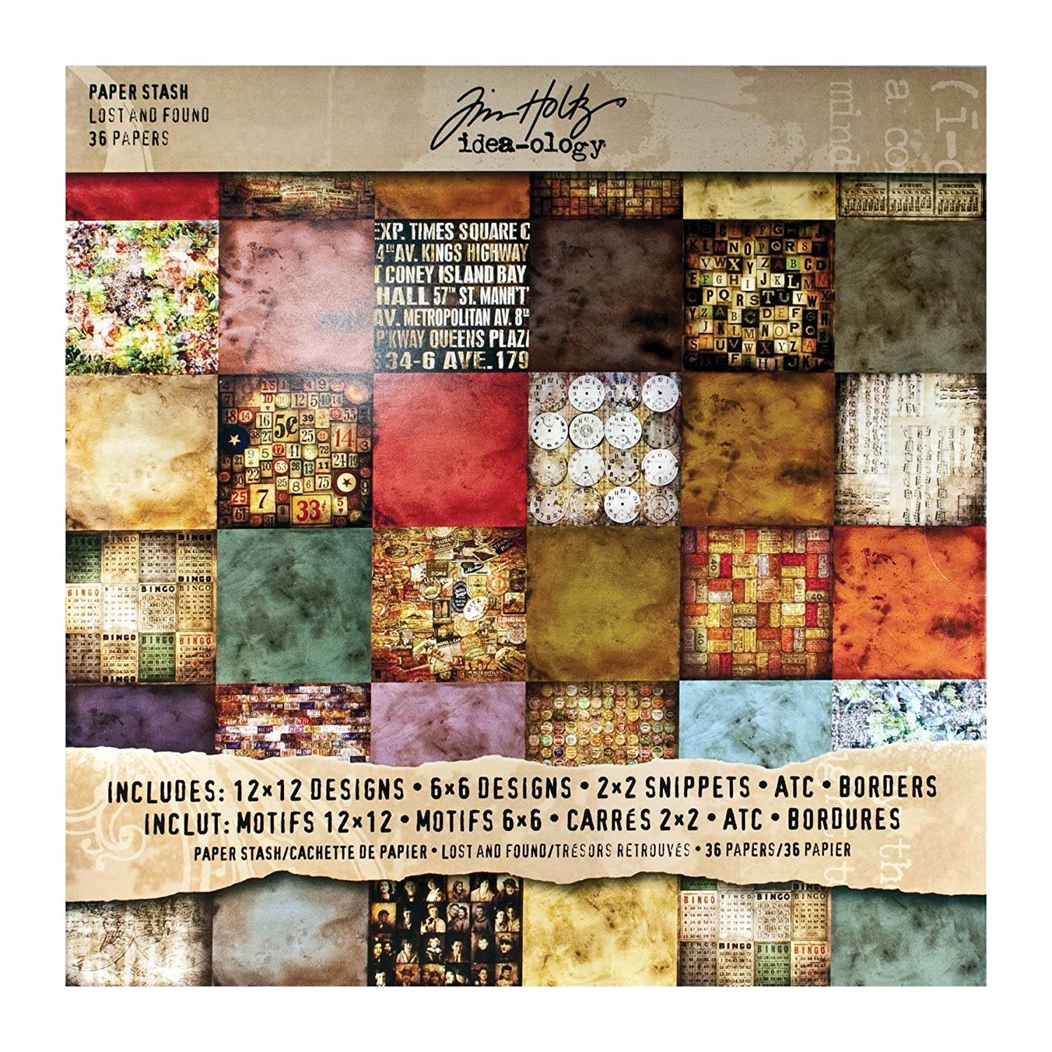 ADVANTUS CORPORATION Tim Holtz Idea-ology Paper Stash, Dapper, 36 Sheets of 12 x 12 Inch Double-sided Cardstock Papers in Brown, Beige, Brown (TH93260) 128531