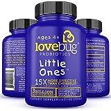 LoveBug Probiotics: Little Ones - Children's Multi-Strain Probiotics Supplement. 60 Easy-to Swallow spheres. 3 Billion CFU. Sugar Free Tablets.