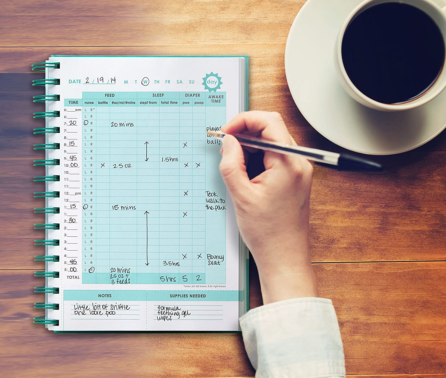 50 Easy to Fill Pages to Track and Monitor Your Newborn Babys Schedule Pearhead Babys Daily Log Book