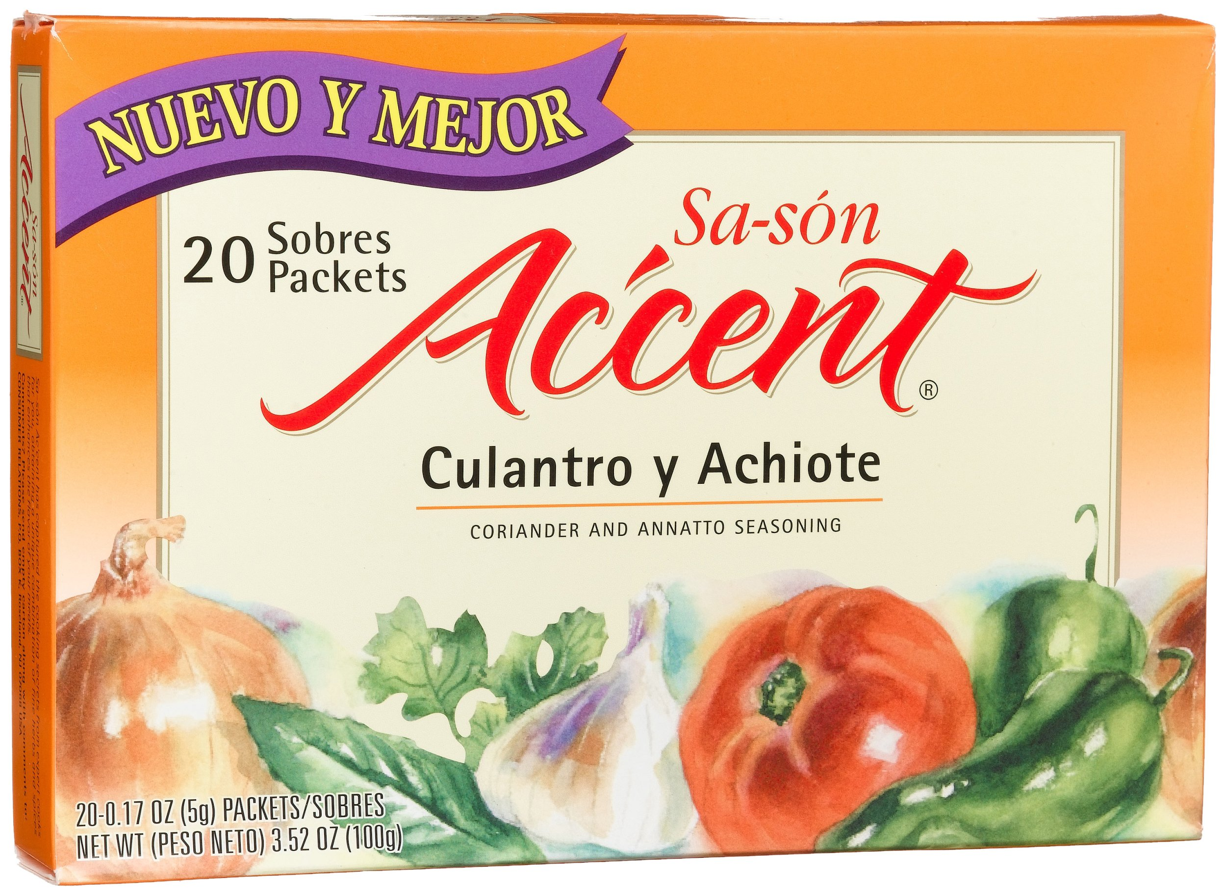 Sa-son Accent Seasoning, Culantro y Achiote (Coriander & Annato Seasoning), 20-Count Packets (Pack of 18)