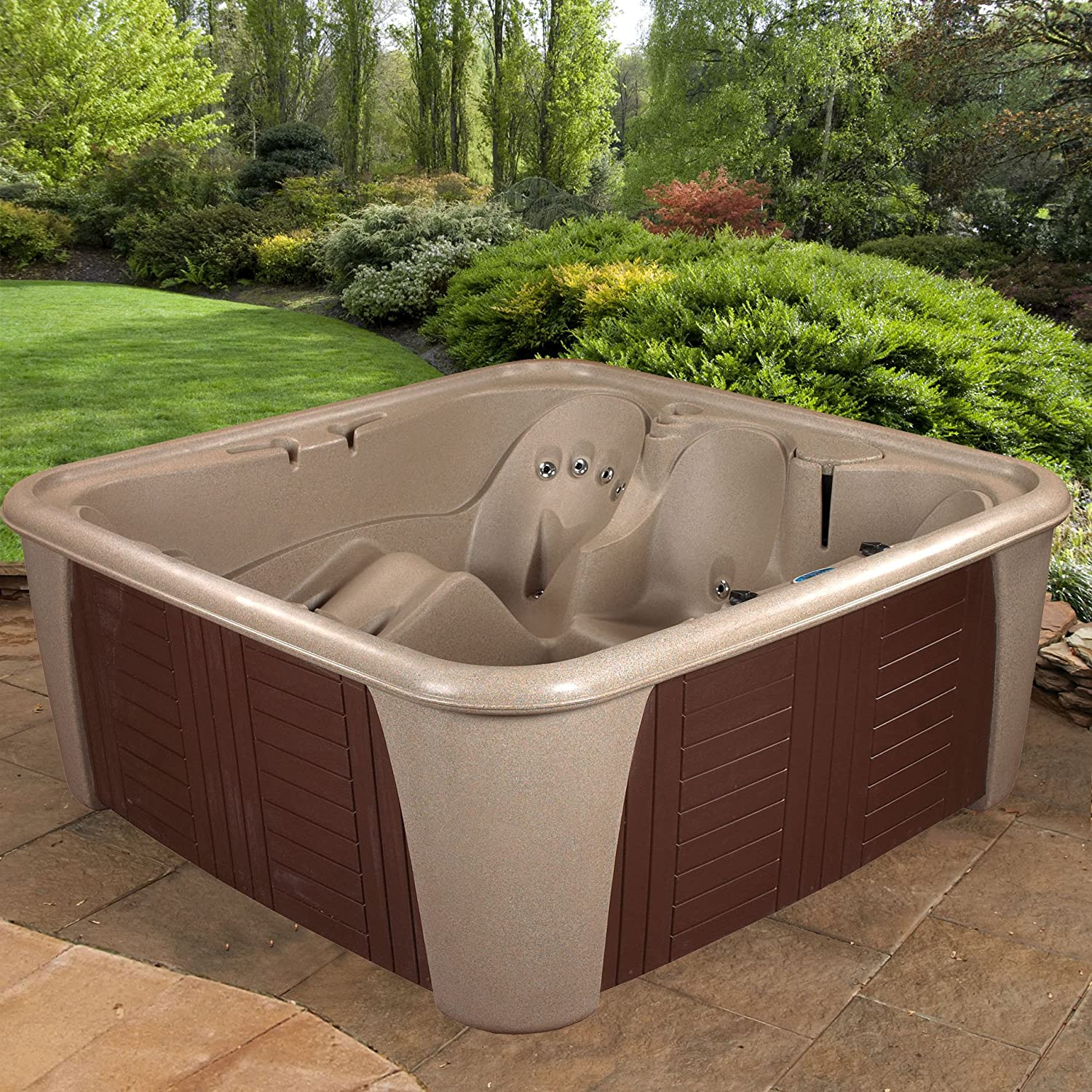 Essential Hot Tubs 24 Jets Rainier Hot Tub, Cobblestone Espresso