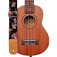 MUSIC FIRST Original Design Rosa Multiflora in Black Soft Cotton & Genuine Leather Ukulele Strap Ukulele Shoulder Strap