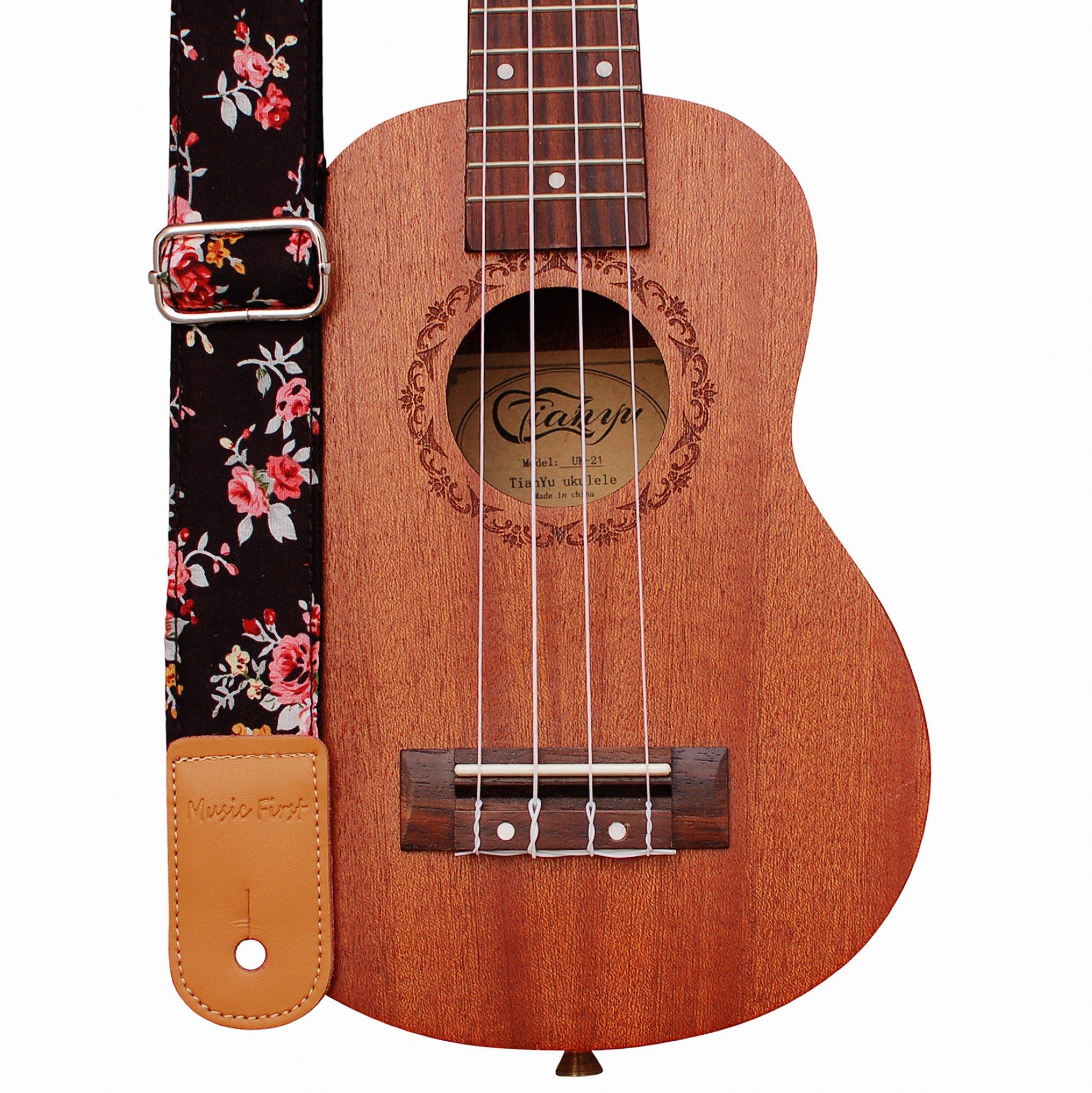 """MUSIC FIRST Original Design """"Rosa Multiflora in Black"""" Soft Cotton & Genuine Leather Ukulele Strap Ukulele Shoulder Strap"""