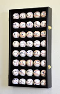 40 Baseball Ball Display Case Cabinet Holder Wall Rack w/98% UV Protection Lockable, Black