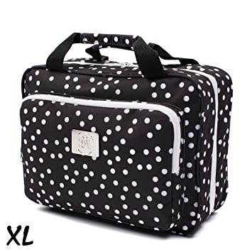 18686619f2 Amazon.com   Large Versatile Travel Cosmetic Bag - Perfect Hanging Travel  Toiletry Organizer (XL Polka dot)   Beauty