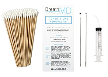 Tonsil Stone Removal Kit - 2 Remover Tools + 50 Swabs + 1 Syringe