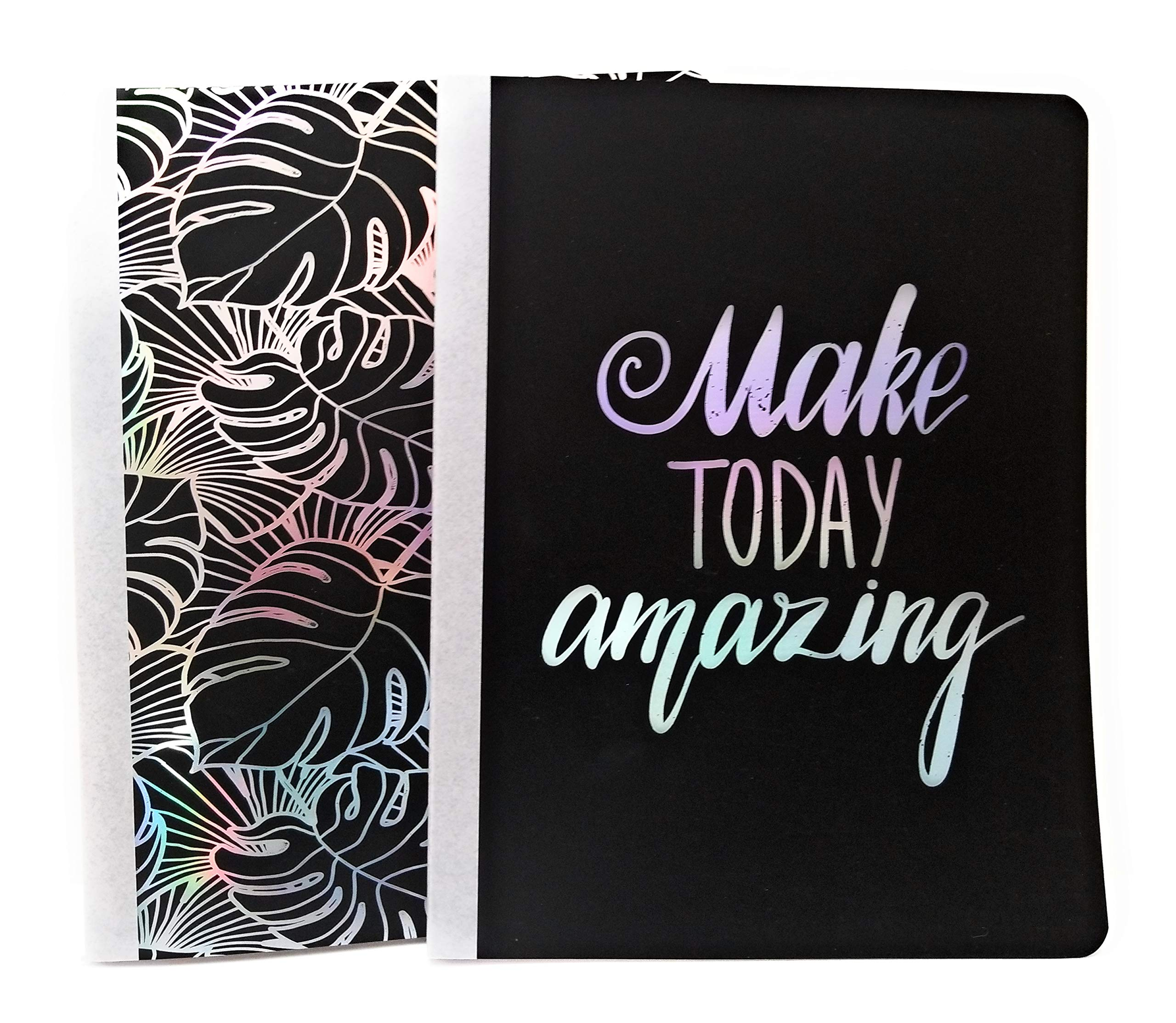 Black''Make Today Amazing'' Metallic Wide Ruled Comp Notebooks ~ Pack Of 2