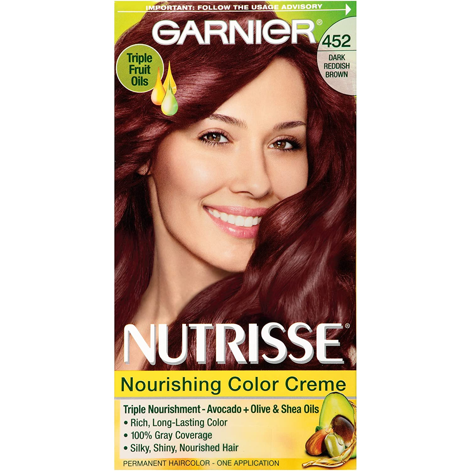 Buy Garnier Nutrisse Hair Color, 452 Dark Reddish Brown Chocolate ...