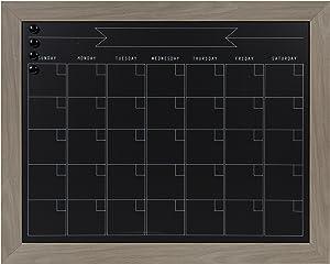 DesignOvation Beatrice Framed Magnetic Chalkboard Calendar, 23x29, Gray