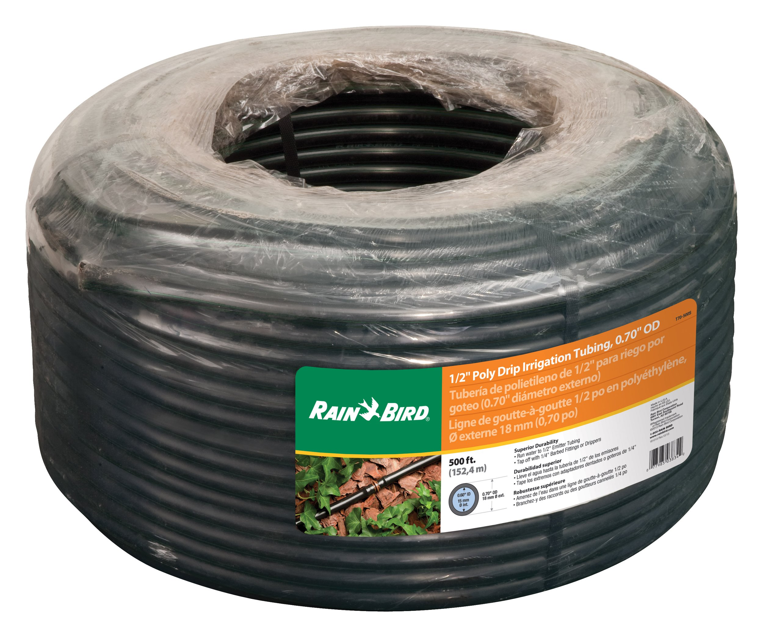 Rain Bird T70-500S Drip Irrigation 1/2'' (.700'' OD) Blank Distribution Tubing, 500', Black