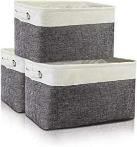Seniny Collapsible Storage Bins [3-Pack] Storage Cubes Box, Large Storage Baskets for Organizing, EVA Fabric Organizer with Handles for Home Office