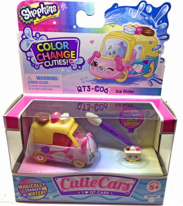 Shopkins Cutie Cars *Your Choice* Color Change Cuties Riders 3 Pk Carwash BNIB