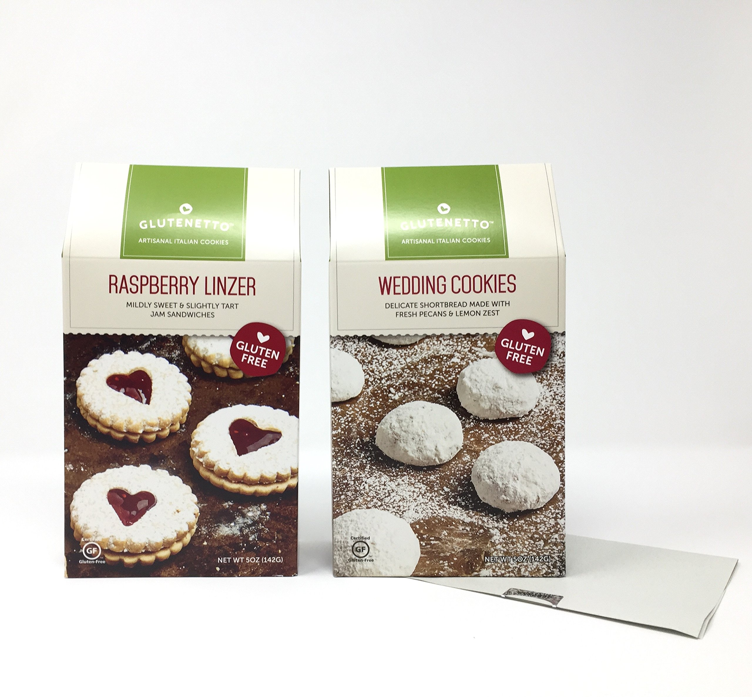 GLUTEN FREE Cookies. GLUTENETTO Gourmet Raspberry & Glutenetto GF Gourmet Shortbread Wedding. Plus a Bonus Free GFREE NUT FREE 3- Item Candy Recipe from Z-Organics.(2 Items)