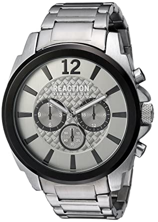 acb6ec236 Kenneth Cole REACTION Men's Sport Analog-Quartz Watch with Stainless-Steel  Strap, Silver
