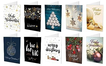 Hochwertige Weihnachtskarten.20 Weihnachtskarten 10 Unterschiedliche Motive Jeweils 2 Klappkarten 20 Hochwertige Haftklebende Umschläge Frohe Weihnachten Frohes Fest