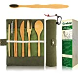 Bamboo Utensils Cutlery Set BEWBOW – Reusable Cutlery Travel Set – Eco-Friendly Wooden Silverware for Kids & Adults – Outdoor