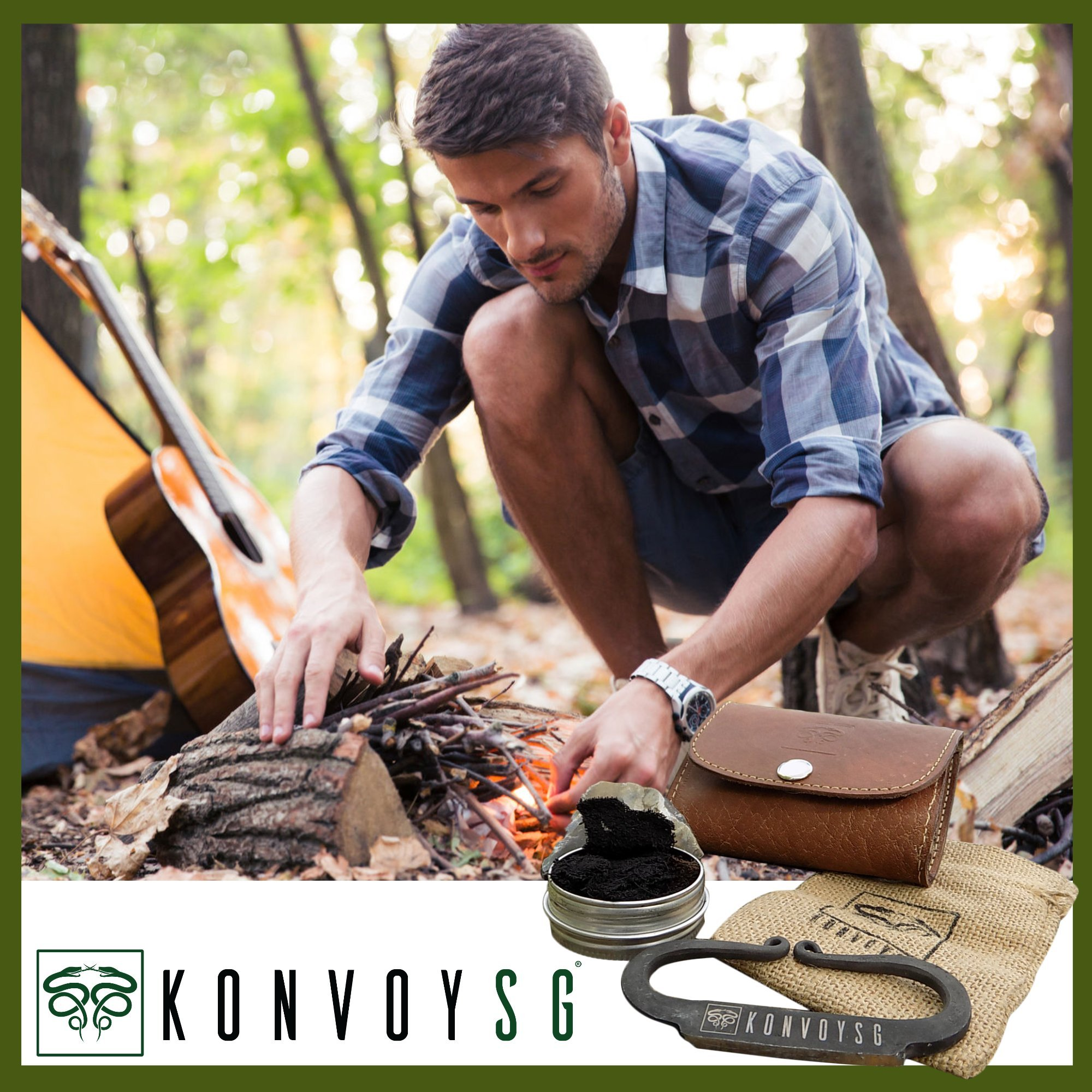 KonvoySG Flint and Steel Kit. Fire Striker, English Flint Stone & Char Cloth Traditional Hand Forged Fire Starter with a Leather Gift Pouch and Emergency Tinder Jute Bag (Coyote Brown) by KonvoySG (Image #2)