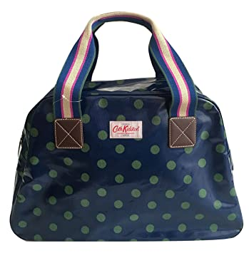 Cath Kidston overnight travel weekend bag oilcloth button spot ink green 6be172aa6622c