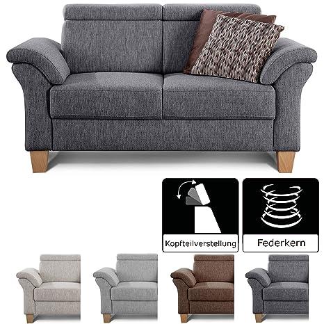 Cavadore 2 Sitzer Sofa Ammerland Couch Mit Federkern Im Landhausstil Inkl Verstellbaren Kopfstützen 156 X 84 X 93 Strukturstoff Grau