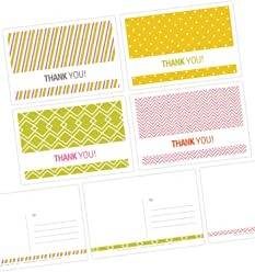 "One Jade Lane - Graphique Thank You Cards (Self-mailer) POSTCARDS""Postage Saver"" (Set of 40)."
