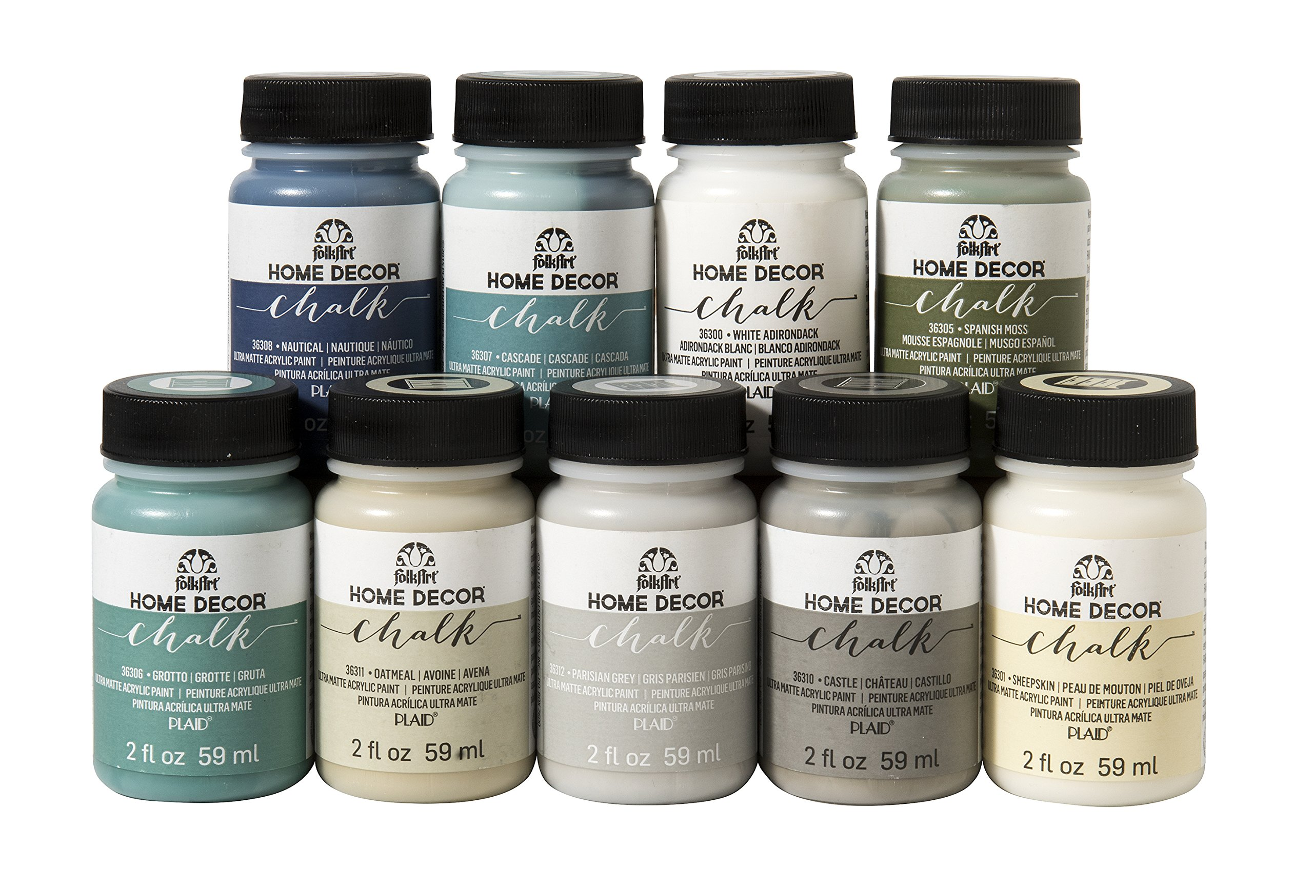 Delightful Contents Include, Nine Bottles Of FolkArt Home Decor Chalk Paint (2 Ounce).  Colors Include White Adirondack, Sheepskin, Spanish Moss, Grotto, Cascade,  ...