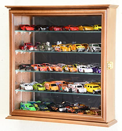 Mirrored Back Hot Wheels / Matchbox / Diecast / Train Display Case Cabinet,  Walnut