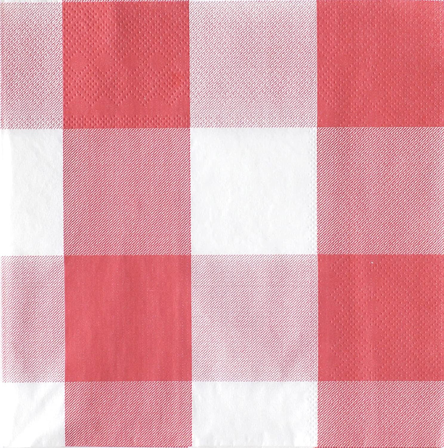 16 Pack Classic Plaid Collection by Havercamp Red and White Plaid Lunch Napkins