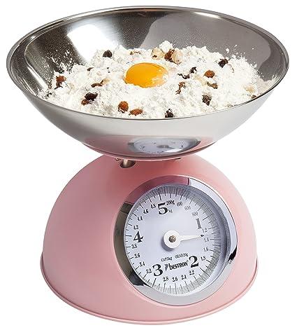 Bestron Báscula de Cocina Analógica con Recipiente Extraíble, Diseño Retro, Sweet Dreams, Capacidad: 5 kg, Rosa