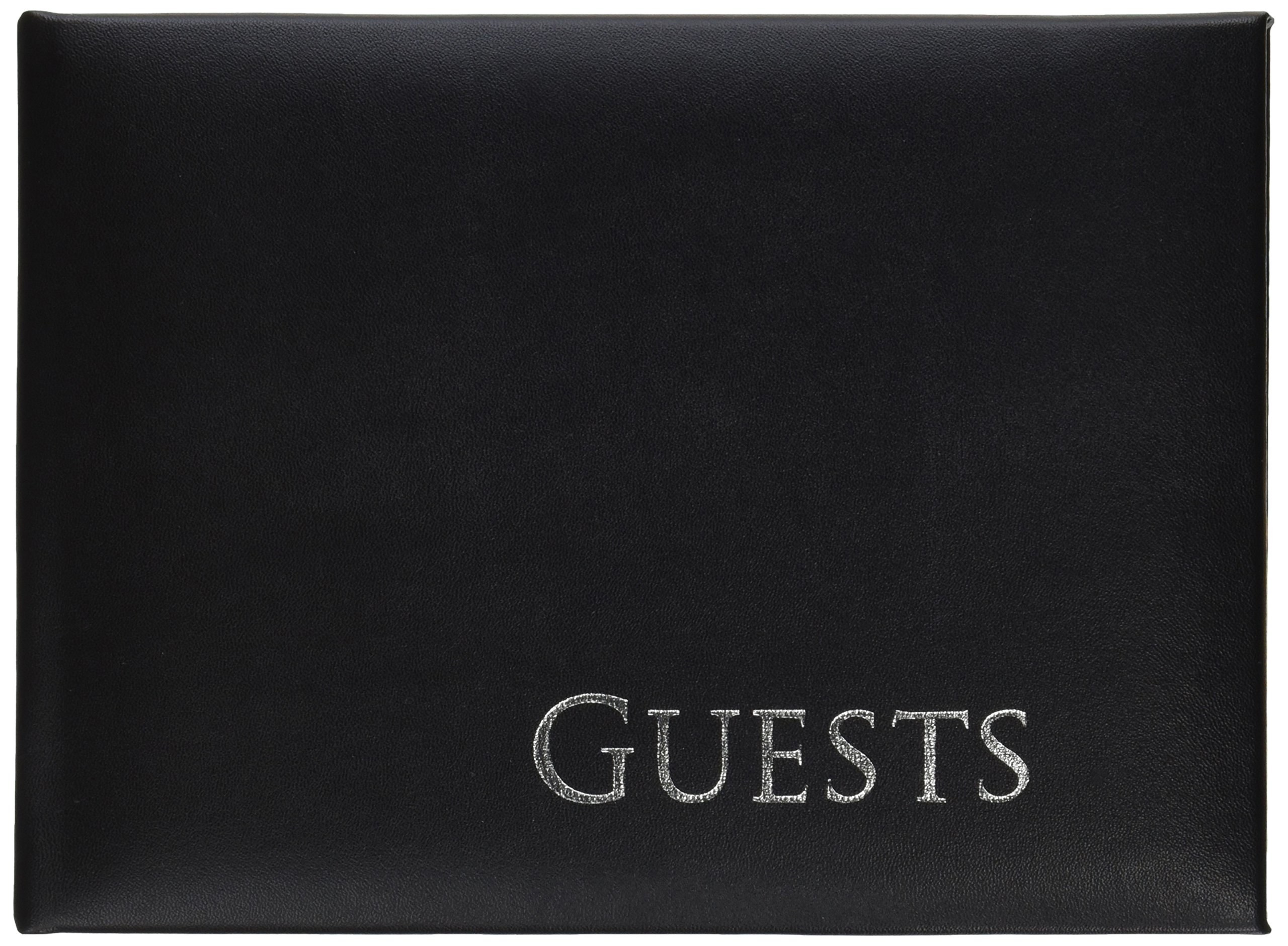 Darice 35930 Embossed Guest Book, 8.5 by 6.25-Inch, Black with Silver Writing
