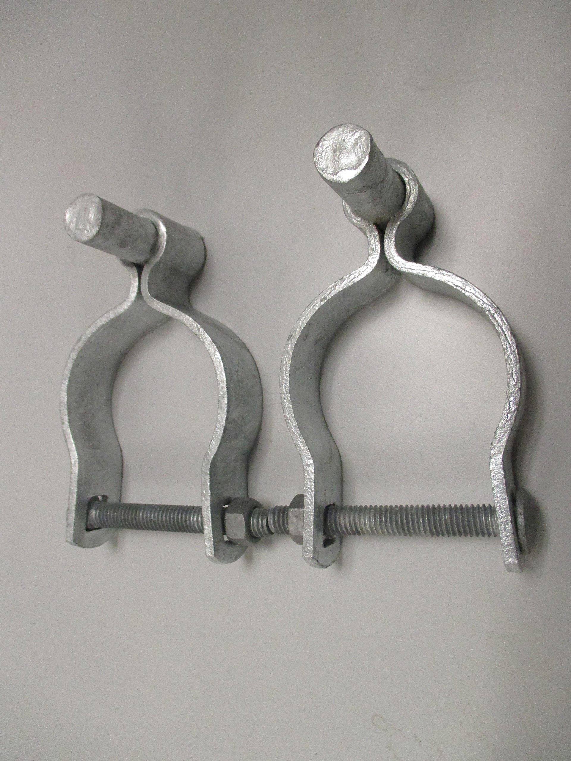 Pressed Steel Chain Link Fence Post Hinge w/Bolt - (2 Sets Pack) (1-3/8'')