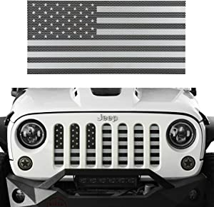 u-Box Jeep Wrangler Front Grille Insert Black & White America Flag Mesh Grille Insert for 2007-2018 Jeep JK & Wrangler Unlimited