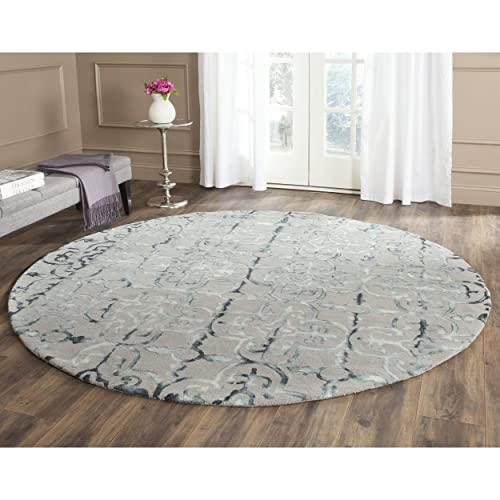 Safavieh Dip Dye Collection DDY711B Handmade Moroccan Geometric Watercolor Grey and Charcoal Wool Round Area Rug 7 Diameter