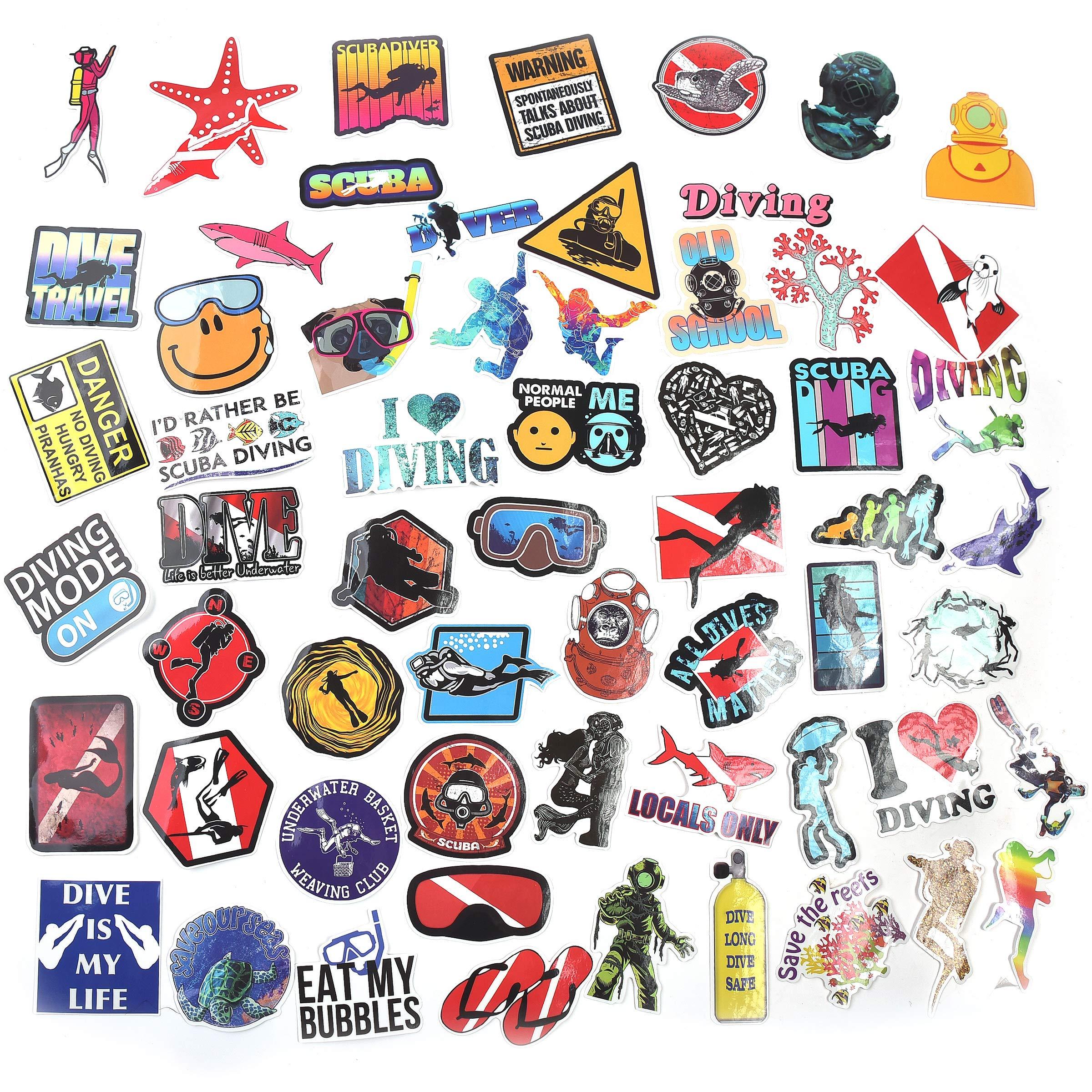 Mizzuco Vinyl Stickers Waterproof Diving Stickers 61 Pieces for Teens Girls Laptop Bumper Helmet Ipad Car Luggage Water Bottle (231)