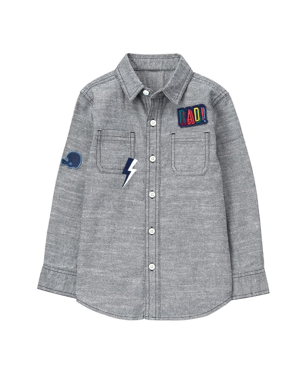 Gymboree Boys' Chambray Patch Button Down Shirt
