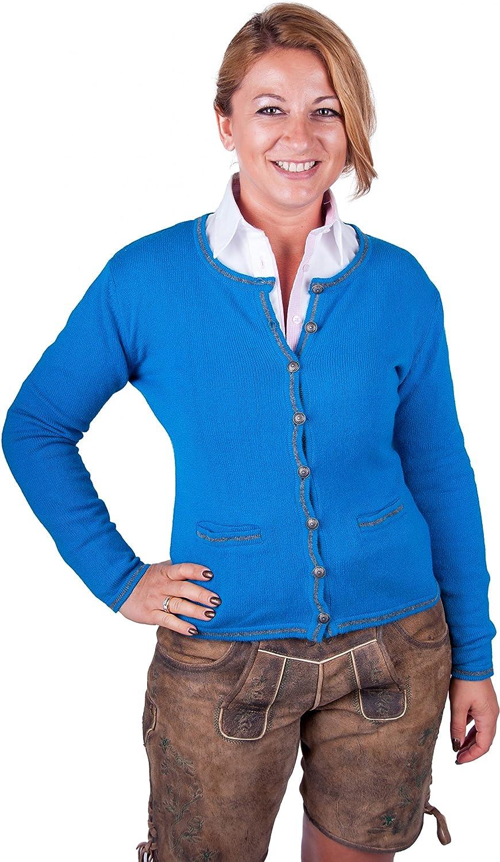 Almwerk Damen Trachten Strick Jacke Diana in Grün, Blau, Grau Schwarz und Fuchsia